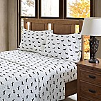 True North by Sleep Philosophy Olivia Flannel Queen Sheet Set in Black/White