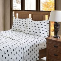 True North by Sleep Philosophy Olivia Flannel Full Sheet Set in Black/White