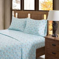 True North by Sleep Philosophy Snowmen Flannel Twin Sheet Set in Blue