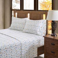 True North by Sleep Philosophy Flurries Flannel Queen Sheet Set in Tan/Blue