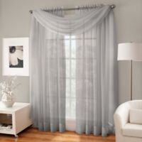 Crushed Voile Sheer Scarf Valance in Fog