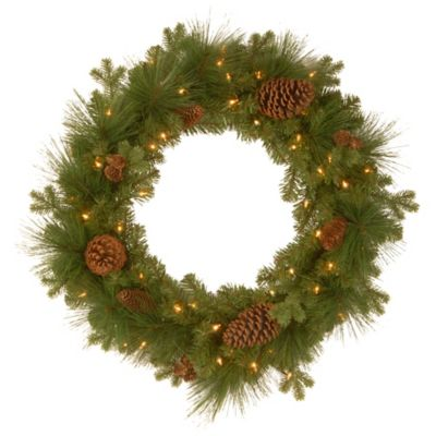 Buy outdoor lighted wreath decoration from bed bath beyond national tree eastwood spruce pre lit wreath with mixed cones aloadofball Gallery