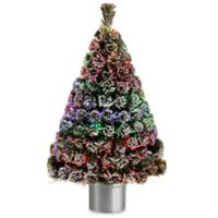 national tree 4 foot fiber optic evergreen pre lit flocked tree with silver base - Pre Decorated Christmas Trees