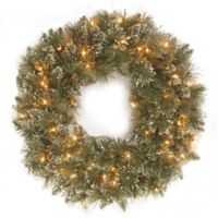 National Tree Company 24-Inch Glittery Bristle Pine Pre-Lit Oval Wreath with Warm White Lights