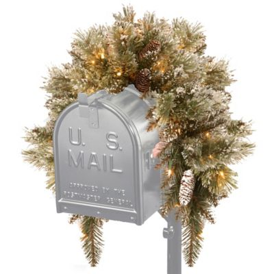 National Tree Company 36-Inch Glittery Bristle Pine Mailbox Swag with White LED Lights