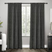 Exclusive Home Embossed Satin 84-Inch Rod Pocket Window Curtain Panel Pair in Black Pearl