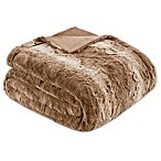 Madison Park Zuri Oversized Throw Blanket in Tan