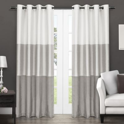 Exclusive Home Chateau 96 Inch Grommet Top Window Curtain Panel Pair In Dove Grey