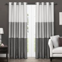 Chateau 84-Inch Grommet Top Window Curtain Panel Pair in Black Pearl