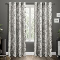 Exclusive Home Branches 96-Inch Grommet Top Window Curtain Panel Pair in Black Pearl