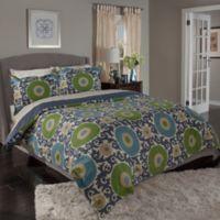 Tracy Porter® Ottoman Blossom Full/Queen Reversible Duvet Cover Set in Indigo