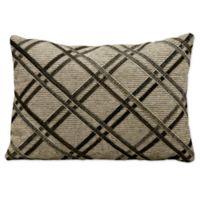 Mina Victory™ Leather Hide Double Diagonal Rectangular Throw Pillow