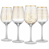 Home Essentials & Beyond Cellini Assorted Wine Glasses in Gold (Set of 4)