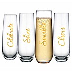 Home Essentials & Beyond Cellini Stemless Champagne Flutes in Gold (Set of 4)