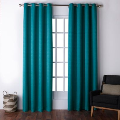 Exclusive Home Firenze 96 Inch Grommet Top Window Curtain Panel Pair In Teal