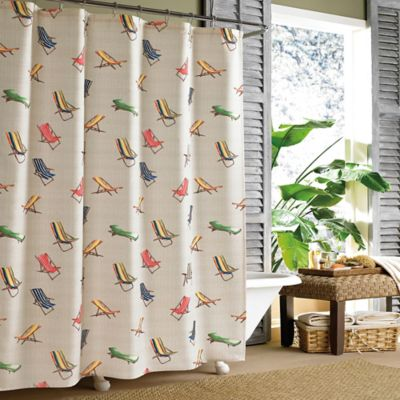Tommy Bahama Beach Chair Long Shower Curtain