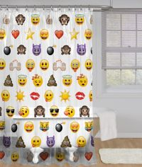 Emoji 72-Inch PEVA Shower Curtain
