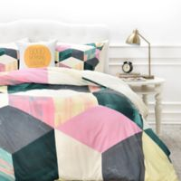DENY Designs Dash and Ash Sunday Vibes Duvet Cover in Green/Pink