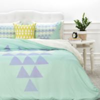 DENY Designs Allyson Johnson Purple Triangles King Duvet Cover in Mint