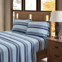 True North by Sleep Philosophy Fair Isle Flannel Queen Sheet Set in Blue