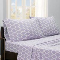 True North by Sleep Philosophy Ogee Microfleece King Sheet Set in Purple