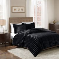 Madison Park Duke Faux Fur Full/Queen Comforter Set in Black