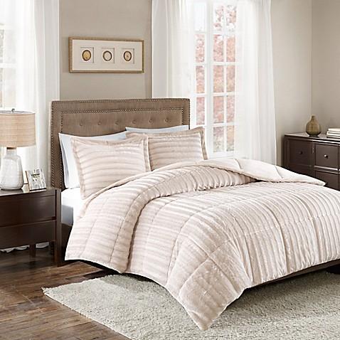 Madison Park Duke Faux Fur 3 Piece Comforter Set Bed