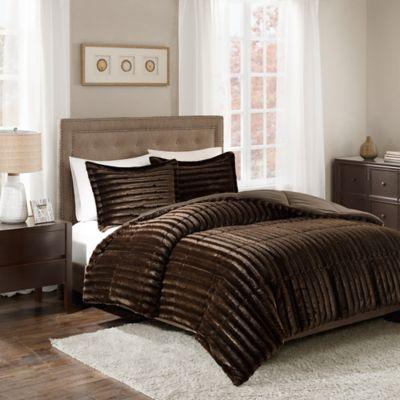 madison park duke faux fur king comforter set in chocolate