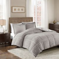 Madison Park Duke Faux Fur Full/Queen Comforter Set in Grey
