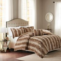 Madison Park Zuri Fur Full/Queen Comforter Set in Tan
