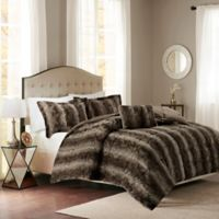 Madison Park Zuri Fur Full/Queen Comforter Set in Chocolate