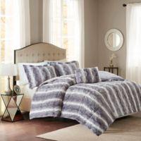Madison Park Zuri Fur King/California King Comforter Set in Grey