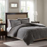 Premium Comfort Artic Fur Down Twin Comforter Set in Grey
