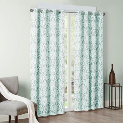 madison park barto 95inch grommet top window curtain panel in aqua