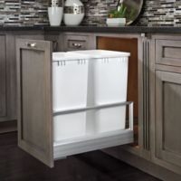 Rev-A-Shelf® Double 50 qt. Pullout Waste Container in Brushed Nickel