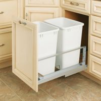 Rev-A-Shelf® Brushed Aluminum Double 35 qt. Pull-Out Waste Containers in White