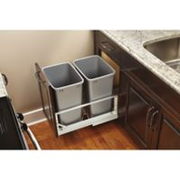 Rev-A-Shelf® Brushed Aluminum Double 35 qt. Pull-Out Waste Containers in Silver