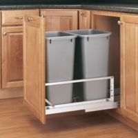 Rev-A-Shelf® Brushed Aluminum Double 50 qt. Pull-Out Waste Containers in Silver