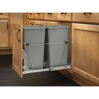 Rev-A-Shelf® Double Pull-Out 27 qt. Waste Containers in Metallic Silver