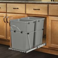Rev-A-Shelf® Double Pull-Out 35 qt. Waste Containers in Metallic Silver