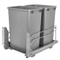 Rev-A-Shelf® Double 35 qt. Pull-Out Silver Waste Container with Soft-Close Slides
