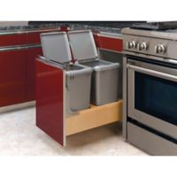 Rev-A-Shelf® Wood Double 35 qt. Pull-Out Waste Containers with Rev-A-Motion Slides in Natural