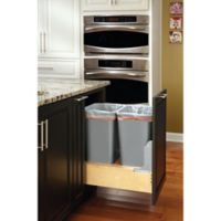 Rev-A-Shelf® Wood Double 50 qt. Pull-Out Waste Containers with Rev-A-Motion Slides in Natural