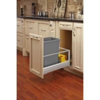 Rev-A-Shelf® Brushed Aluminum Pull-Out 35 qt. Waste Containers in Silver