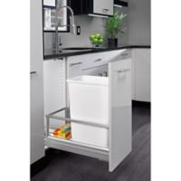 Rev-A-Shelf® Brushed Nickel Pull-Out 35 qt. Waste Containers in White