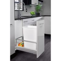 Rev-A-Shelf® Brushed Nickel Pull-Out 50 qt. Waste Containers in White