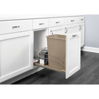 Rev-A-Shelf® Brushed Nickel Pull-Out 35 qt. Waste Containers in Champagne