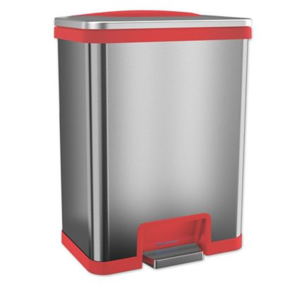 ITouchless® TapCan Effortless Stainless Steel 13 Gallon Trash Can In Red