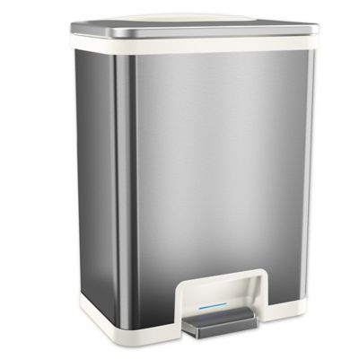 Itouchless Tapcan Effortless Stainless Steel 13 Gallon Trash Can In White