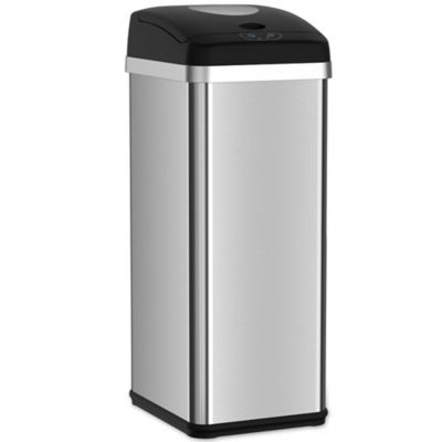 itouchless sensor stainless steel 13gallon trash can in silver - 13 Gallon Trash Can